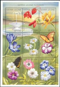Sierra Leone 1996 Flowers/Butterflies/Insects/Plants/Nature 9v m/s (s3781t)