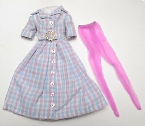 "HOMEMADE PINK & BLUE SHIRTDRESS for 12"" Dolls Fashion Royalty Barbie Silkstone"