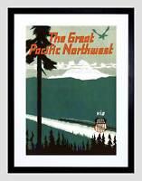TRAVEL PACIFIC NORTHWEST USA TRAIN RAIL MOUNTAIN SNOW FRAMED ART PRINT B12X6496