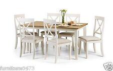 Solid Wood / Ivory / Oak Dining Table & 6 Chairs W150cm x D90cm x H75cm DEVON