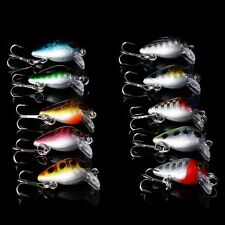 Lot 10 Pcs Minnow Fishing Lures Bass Floating Swing Crank Bait Tackle Hooks