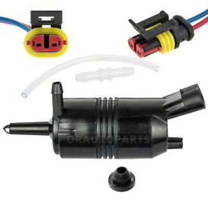 Windshield Washer Pump W/ Electrical Connector+Hose For Chevrolet Chevy Impala