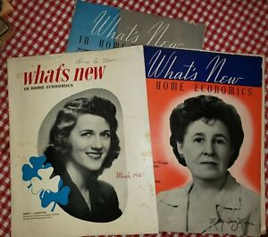 Three 1946/7 What's New in HOME ECONOMICS Magazines - great ads + ideas late 40s