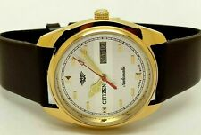 Citizen Automatic Men Gold Plated Movement 8200 Day Date Vintage Watch sq67