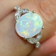 Size 4-12 Rhodium Plated 10KT Australia White Fire Opal Ring Wedding Cocktail