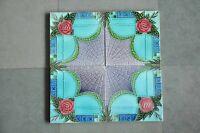 4Pc Vintage Majolica Decorative Star Flower Art Nouveau Architecture Tiles,Japan