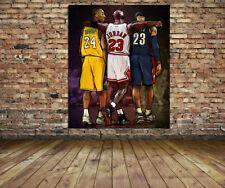 NBA Wall Art Michael Jordan, Kobe Bryant, Lebron James Canvas Print 28 x 22