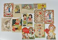 Lot of 12 Vintage Valentine Cards Boy Girl Howling Dog Gypsy Die Cut