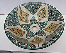 HAND Painted multi colore a mano in ceramica lavabo * FES Pottery 36cm (F5)