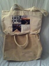 Lot of Two Natural Color Large Canvas Tote Bags