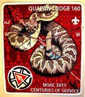 QUAPAW LODGE 160 AR FLAP OA 100TH ANNIV 2015 CENTENNIAL NOAC 2-PATCH DELEGATE