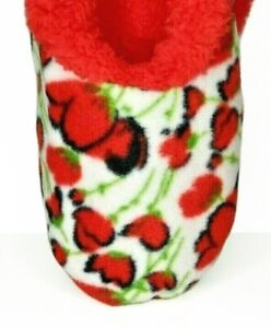 Snoozies Slippers Women's Small 5-6 Hip Collection Red White Poppies Booties
