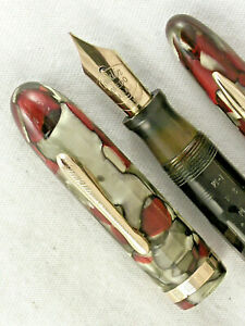 "VINTAGE RED & GREEN MARBLED CONKLIN NOZAC 7M ""WORD GAUGE"" FOUNTAIN PEN SET!"