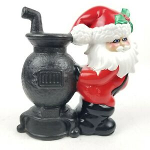 "Vintage Ceramic Santa Claus at Pot Belly Stove Glenview Mold 1970s 10"" Tall"