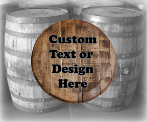 Personalized Authentic Reclaimed Whiskey barrel head Your Design Printed on Wood
