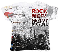 "DF Baby T-Shirt All Over Print ""Rock Me to Heavy Metal"" Rock Music Band Guitar"