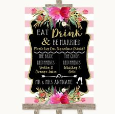 Wedding Sign Poster Print Gold & Pink Stripes Signature Favourite Drinks