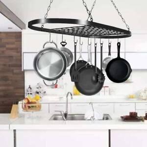 Kitchen Ceiling Iron Hanging Pot Pan Rack Hooks Storage Shelf Saucepan Holder UK