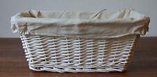 Heavy Duty White Wicker Basket Bathroom Toiletry Make Up Storage Fabric Lining