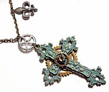 STEAMPUNK FILIGREE CROSS PENDANT clockwork gears necklace bronze patina green 6Y