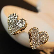 Fashion Women Lady Heart Ear Stud Earrings Crystal Rhinestone Party Jewellery