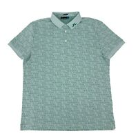 J. Lindeberg Golf Polo Shirt Mens Size 2XL Green Regular Fit Spell Out Athletic