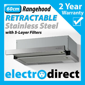BRILCON 60cm Slide Out Rangehood Stainless Steel Range Hood 600mm with LED light