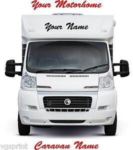 2 x MOTORHOME/CARAVAN PERSONALISED NAMES GRAPHICS DECALS CHOICE OF COLOURS 280