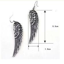 Retro Angel Wings Drop Dangle Women Silver Rhinestone Beautiful Unique Earrings