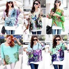Women Print Loose Batwing Dolman Sleeve Top Oversize Chiffon Blouse Boho T Shirt