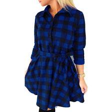 New Women's Classic Plaid Check Bodycon Long Sleeve Casual Grid Shirt Mini Dress