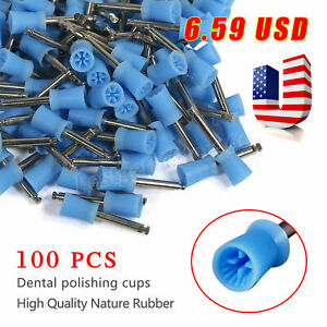 Dental Firm Prophy Cup Flat Cups Ribber Webbed Fit Contra Angle Handpiece Blue