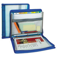 """C-Line Zippered Binder with Expanding File 10.88"""" x 1.5"""" Bright Blue 48115"""