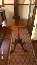 "2005M Vtg Antique 40's Pedestal Cherry Table 27.5"" Tall ORNATE Carved Legs GC"