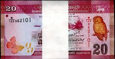 2010 Sri Lanka 20 Rupees Bundle Uncirculated 100 Notes