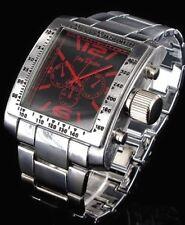 Große Massive Herrenuhr Silber Rot Schwarz Chronograph Look Herren Armbanduhr