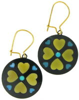 Pierced Earrings Dangle Stain Glass Style Multicolor Green Black Yellow Vintage
