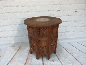 Vintage Anglo-Indian Hand Carved Wood Octagonal Folding Table w Floral Inlay Top