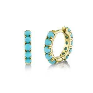 Turquoise Beaded Huggie Earrings 14k Yellow Gold Natural Round Mini Hoop 0.72ct