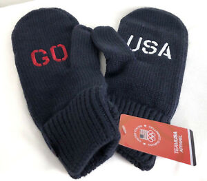 Go USA Mittens Olympic Committee Team Knit Cable Gloves United States Blue Adult