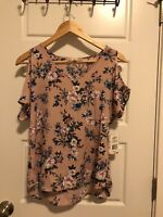 Pink Republic Women Size S Small Cold Shoulder Floral V Neck Blouse Top New