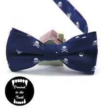 Blue Bow Tie White Skull Print Quirky Alternative Formalwear Wedding Party UK