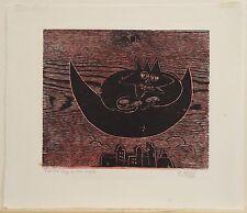 """Naul Ojeda, """"The King of the Night,"""" 1978, Woodcut"""