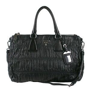 100% Authentic Prada Black Gaufre Nappa Leather Tote Bag Shopper