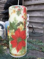 Pillar Hand Decorated Candle Christmas Poinsettia Design 90hrs 18x6.5cm