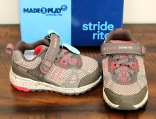 New Stride Rite Owen Made To Play Sneakers sz 5 Toddler Boys Shoes Gray Red
