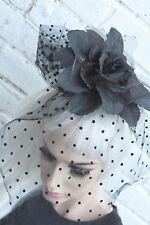BLACK VEIL HALLOWEEN CORPSE BRIDE GOTHIC GOTH VAMPIRE FLOWER CROWN HEAD BAND