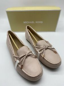 New $99 Michael Kors Sutton Moc Soft Pink Leather Loafer Bow Flat 8.5