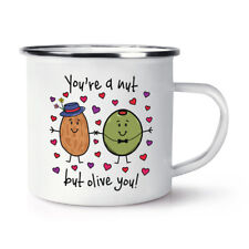 You're A Nut But Olive You Retro Enamel Mug Cup - Funny Valentine's Day Camping