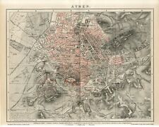 1895 GREECE ATHENS CITY PLAN Antique Map